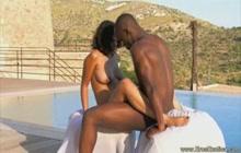 Sensual black lovers have sex